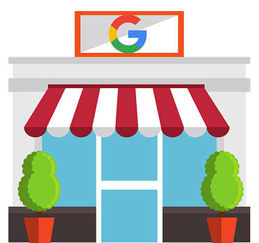 Icon of the Google G over a storefront door, representing how TOPDOG Legal Marketing, LLC helps attorneys understand the benefits of and optimize their Google My Business profiles through legal marketing and legal ethics CLEs.