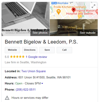 Image of Sample Law Firm Google My Business Listing