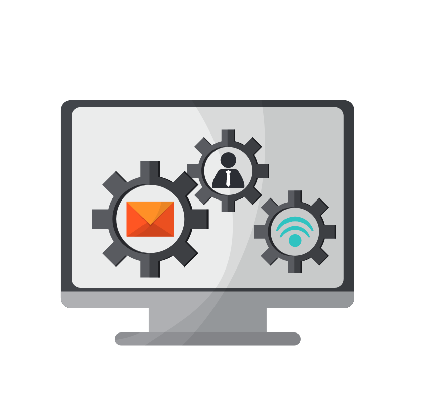 Icon of gears on a desktop screen, representing how TOPDOG Legal Marketing, LLC offers Indiana-accredited legal marketing and legal ethics CLEs to help attorneys advertise effectively and within the bounds of the Indiana Rules of Professional Conduct.